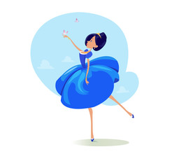 Digital vector funny comic cartoon fairytale princess girl in blue dress dancing with butterflyes at a ball, royal shoes and collar, hand drawn illustration, abstract realistic flat style