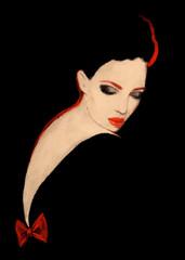 Photo sur Toile Portrait Aquarelle Woman in black dress. fashion illustration