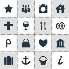 Vector Illustration Of 16 Location Icons. Editable Pack Of Car Park, Cake, Briefcase And Other Elements.