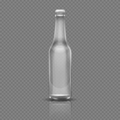 Empty transparent beer or water bottle. Realistic 3d vector illustration