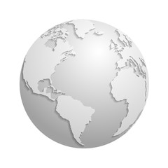 Fotomurales - Origami white paper world globe. 3d vector illustration