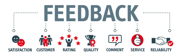 feedback banner with icons