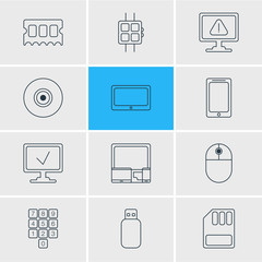 Vector Illustration Of 12 Notebook Icons. Editable Pack Of Online Computer, Flash Drive, Gadgets And Other Elements.