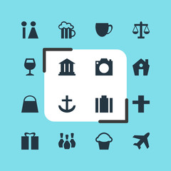 Vector Illustration Of 16 Check-In Icons. Editable Pack Of Coffee Shop, University, Skittles And Other Elements.