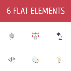 Flat Icons Concept, Illuminator, Eye And Other Vector Elements. Set Of Constructive Flat Icons Symbols Also Includes Palette, Lamp, Idea Objects.