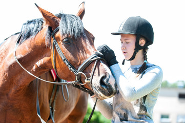 Young teenage girl owner harnessing bay stallion for training