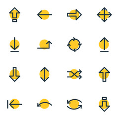 Vector Illustration Of 16 Arrows Icons. Editable Pack Of Undo, Randomize, Download Elements.