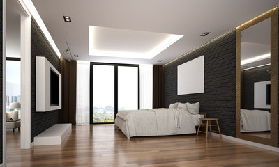 The interior of modern bedroom and service apartment design  and black texture wall