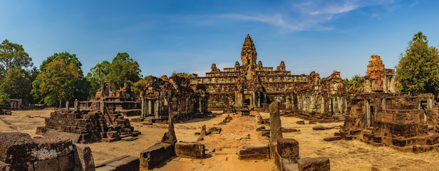 Prasat Bakong temple is a small temple in Angkor Complex, Cambodia. Ancient Khmer architecture, famous Cambodian landmark, World Heritage