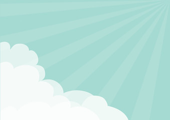 Fluffy Cloud in corners frame template. Blue sky. Sun light rays burst. Sunshine. Cloudshape. Cloudy weather. Flat design. Background. Isolated