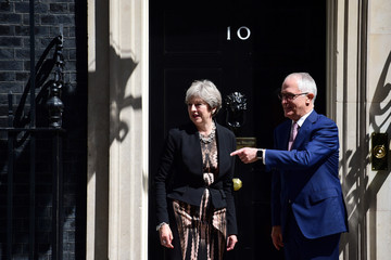 Britain's Prime Minister Theresa May meets Australia's Prime Minister Malcolm Turnbull at Downing Street, in London