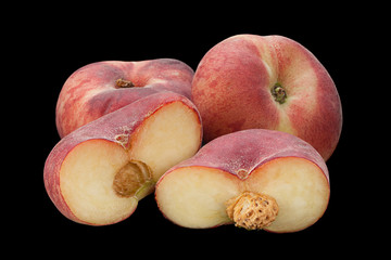 Figs peach fruit on black