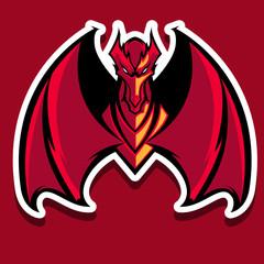 Powerfull Red Dragon mascot logo team or gaming Print