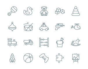 Toys set of vector icons