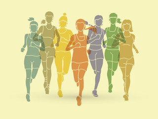Women running, Marathon runners, Group of people running designed using colorful graphic vector.