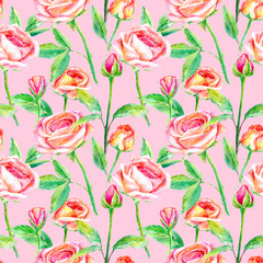 Seamless pattern of a roses.Briar and herbs.Image for fabric, paper and other printing and web projects.Watercolor hand drawn illustration.Pink background.