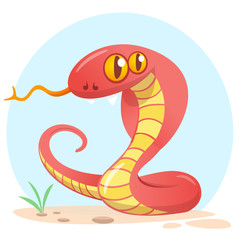 Cartoon red snake. Cute cartoon character. Wild animal collection. Baby education. Isolated. White background. Flat design Vector illustration