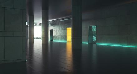 Dark corridor wiith daylight