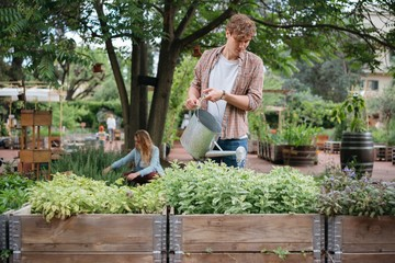 Young man and woman in urban garden, young man watering plants in trough using watering can