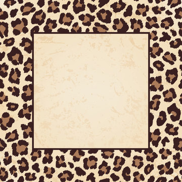 Square frame with leopard beige brown pattern
