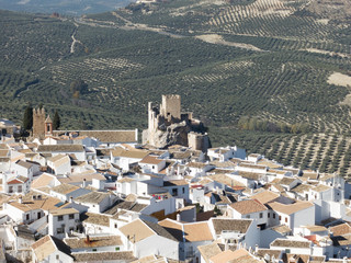 Zuheros, white town with a castle in Andalusia, Spain