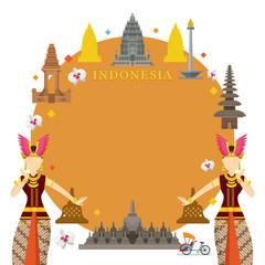 Indonesia Landmarks, Traditional Dance, Frame