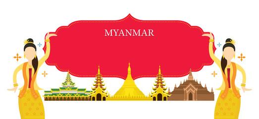 Myanmar Landmarks, Traditional Dance, Frame