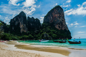 Lime Stone Formations and Beach, Railay Beach, Krabi, Thailand