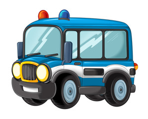 cartoon funny looking police bus - isolated truck / vehicle