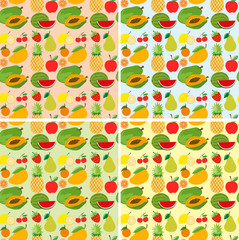 Seamless background design with fresh fruits