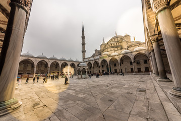View from the outside,inner courtyard and archway of blue Mosque also called Sultan Ahmed Mosque or Sultan Ahmet Mosque in Istanbul, Turkey