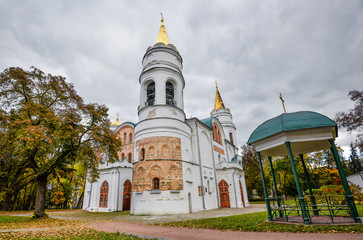 Chernihiv, Ukraine - October 19, 2016: St. Cathedral of the Transfiguration of Our Saviour, 11th century, Chernihiv, Ukraine, Europe. Chernihiv is one of oldest cities of Kievan Rus