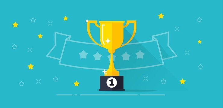 Winner award banner vector illustration, flat cartoon trophy golden cup with first place prize and line outline ribbon with stars, competition reward, victory idea, championship