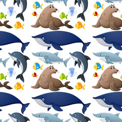 Seamless background design with sea animals