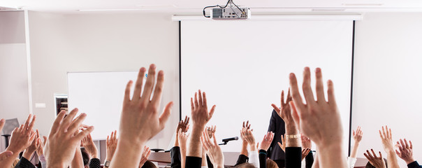 Large group of seminar audience in class room