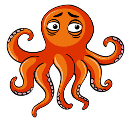 Sad octopus on white background