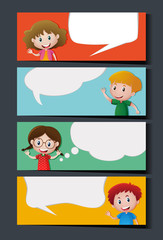 Banner template with kids and blank bubble speeches