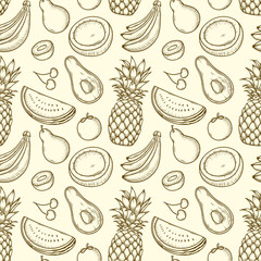 Seamless Pattern Hand drawn Tropical fruits vector illustration