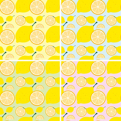 Seamless background design with fresh lemon