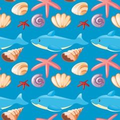 Seamless background with dolphin and seashells