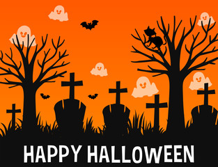Happy Halloween poster design with ghosts in graveyard