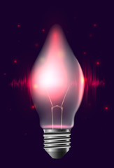 Illustration of a realistic bulb with pulse and sparkles. Garland. Vector element for your design