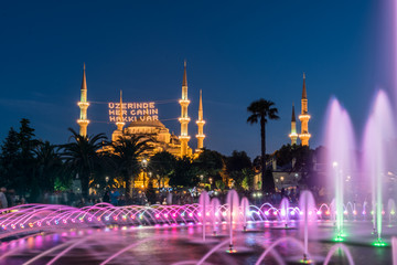 Long exposure photography at Sultanahmet Mosque with fountain in the foreground during Ramadan Mont at Sultanahmet Park, Istanbul, Turkey.