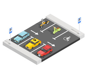 Parking Lot Isometric Composition