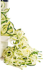 Zucchini Noodles Isolated on White (zoodles)