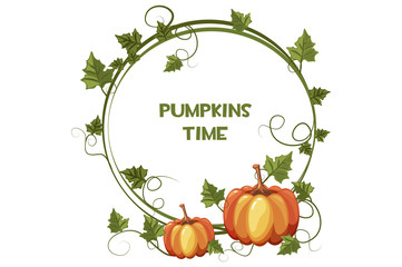 Happy autumn and pumpkin time, background wreath