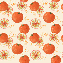 Seamless pattern with fresh oranges watercolor painting.