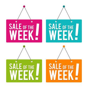 Sale of the Week hanging Door Sign. Eps10 Vector.