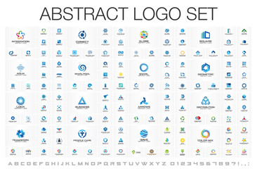 Abstract business logo set. Corporate identity design elements. Network connect, integrate, grow concepts. Science technology, health and medical, market logotype collection. Color Vector brand icons