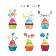Vector set of cupcakes in flat style embellished with toppers color illustrations. Sweet treats for children.